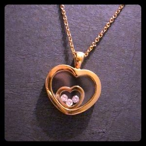 Sterling Silver, Gold Plated Heart/Diamond Neck